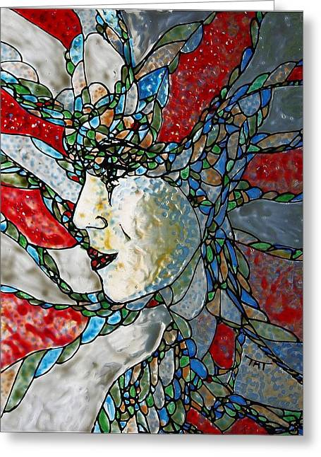 Surreal Glass Art Greeting Cards - Fauvist Fantasy Greeting Card by Teresa Young