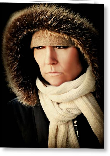 Candid Portraits Greeting Cards - Faux Fur Greeting Card by Diana Angstadt