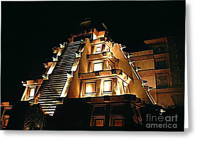 Halifax Art Work Photographs Greeting Cards - Faux Myan Pyramid Greeting Card by John Malone
