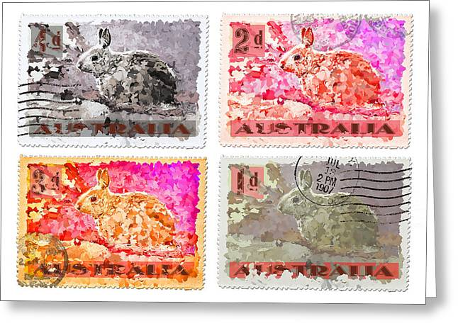 Hare Photographs Greeting Cards - Faux Poste Bunnies Greeting Card by Carol Leigh