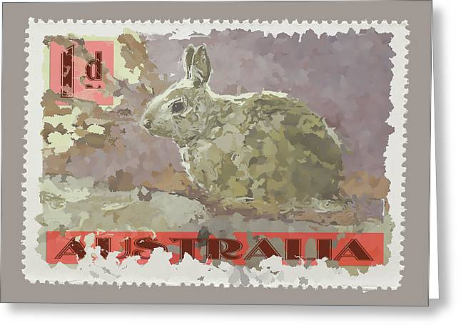 Taupe Greeting Cards - Faux Poste Bunny 1d Greeting Card by Carol Leigh