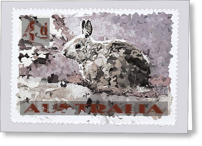Taupe Greeting Cards - Faux Poste Bunny 4d Greeting Card by Carol Leigh