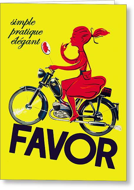 Motorcycles Greeting Cards - Favor Lipstick 1950 Greeting Card by Mark Rogan
