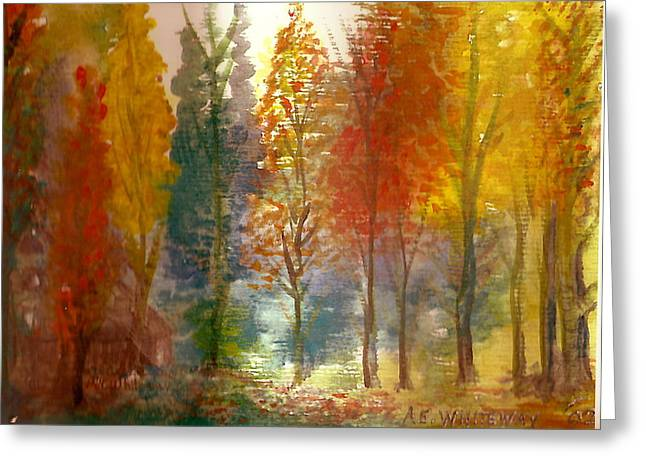 Anne-elizabeth Whiteway Greeting Cards - Favorite Fall Watercolor Painting Greeting Card by Anne-Elizabeth Whiteway