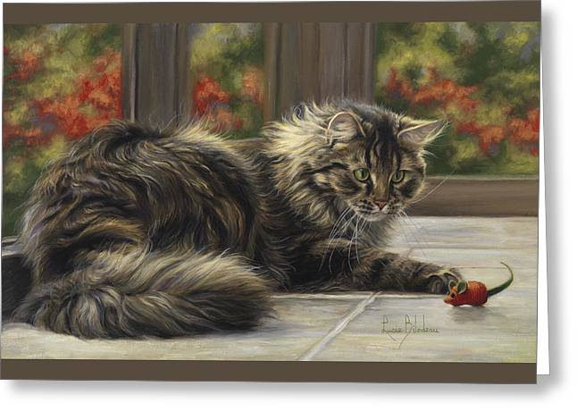 Domestic Cat Greeting Cards - Favorite Toy Greeting Card by Lucie Bilodeau