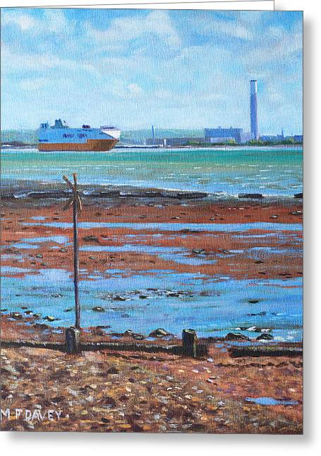 Southampton Water Paintings Greeting Cards - Fawley power station from Weston Shore Hampshire Greeting Card by Martin Davey