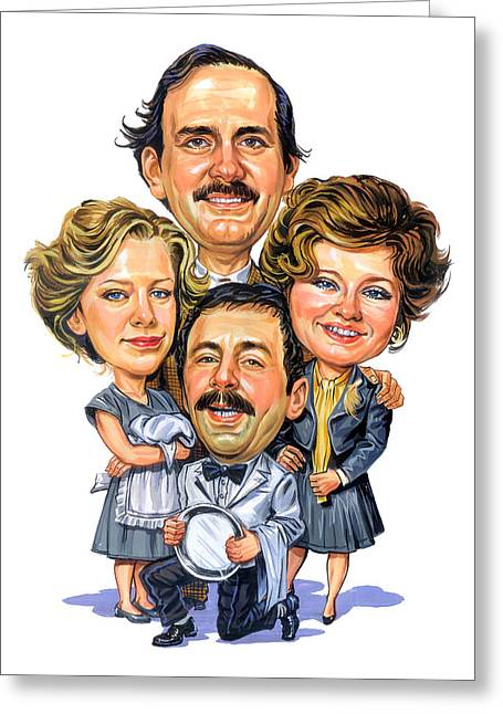 Awesome Greeting Cards - Fawlty Towers Greeting Card by Art