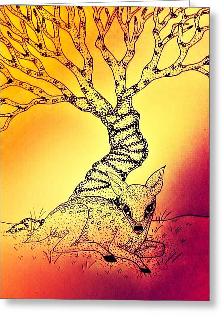 Fawn Mixed Media Greeting Cards - Fawn 2 Greeting Card by Amanda Copenhaver