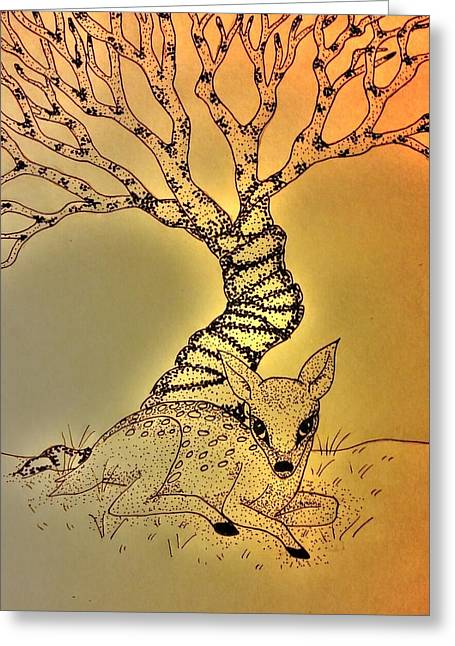 Fawn Mixed Media Greeting Cards - Fawn Greeting Card by Amanda Copenhaver