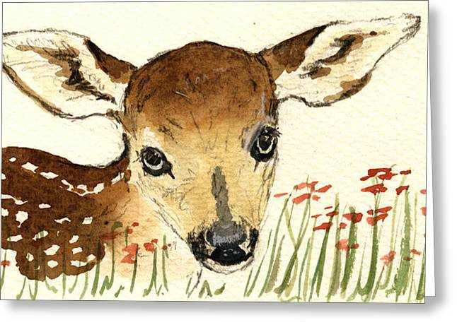 Fawn Greeting Cards - Fawn in the flowers Greeting Card by Juan  Bosco