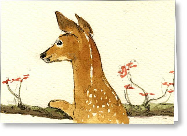 Fawn Greeting Cards - Fawn Greeting Card by Juan  Bosco