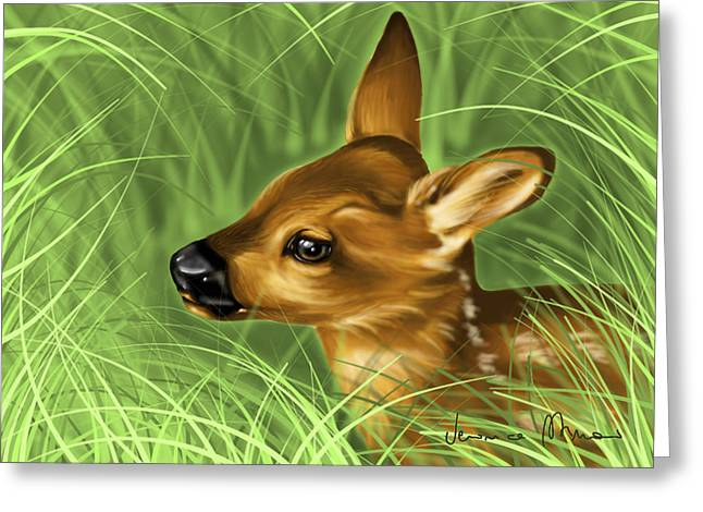 Fawn Greeting Cards - Fawn Greeting Card by Veronica Minozzi
