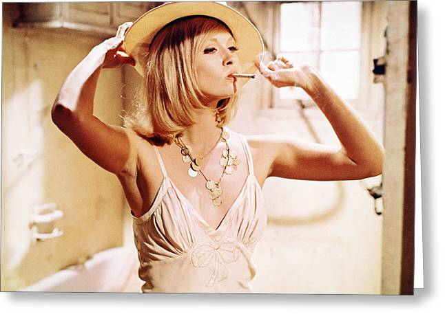 Dunaway Greeting Cards - Faye Dunaway in Bonnie and Clyde  Greeting Card by Silver Screen