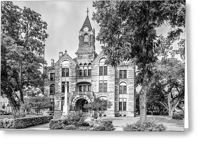 Fayette County Greeting Cards - Fayette County Courthouse in BW Monochrome - La Grange Texas Greeting Card by Silvio Ligutti