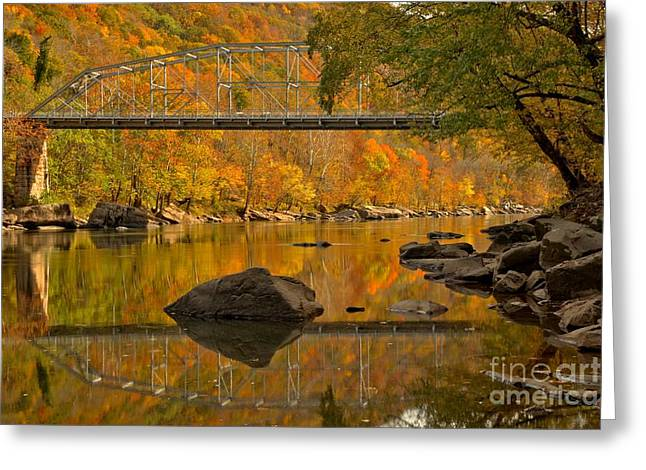 Fayette Greeting Cards - Fayette Station Bridge Reflections Greeting Card by Adam Jewell