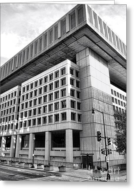 Brutalism Greeting Cards - FBI Building Rear View Greeting Card by Olivier Le Queinec