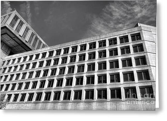 Law Enforcement Greeting Cards - FBI Building Side View Greeting Card by Olivier Le Queinec