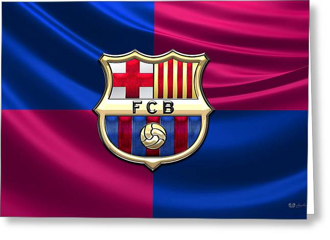 Sports Decor Greeting Cards - FC Barcelona - 3D Badge over Flag Greeting Card by Serge Averbukh