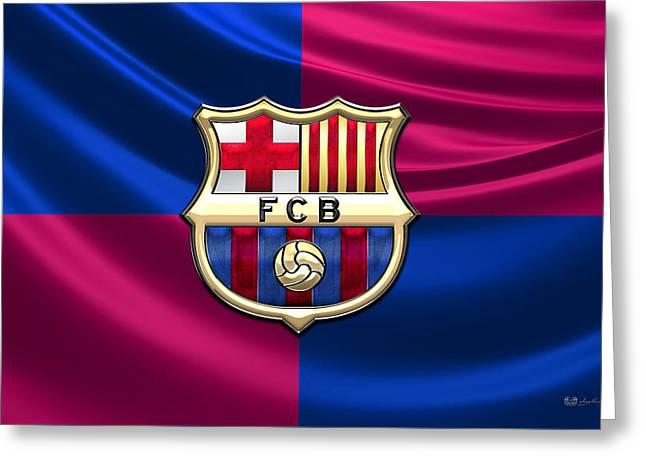 Futbol Greeting Cards - FC Barcelona - 3D Badge over Flag Greeting Card by Serge Averbukh