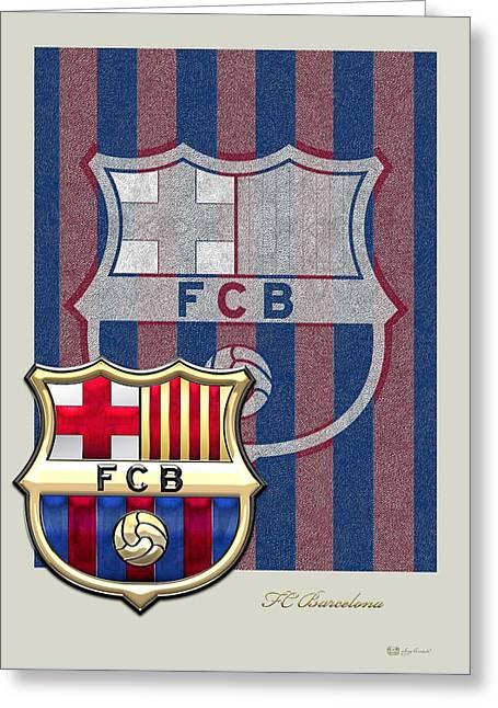 Futbol Greeting Cards - FC Barcelona Logo and 3D Badge Greeting Card by Serge Averbukh