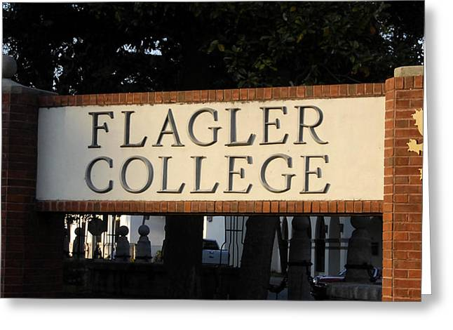 Flagler Greeting Cards - Flagler College sign Greeting Card by David Lee Thompson