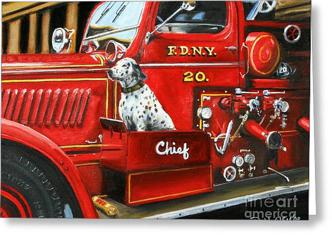 Old Dogs Greeting Cards - Fdny Chief Greeting Card by Paul Walsh
