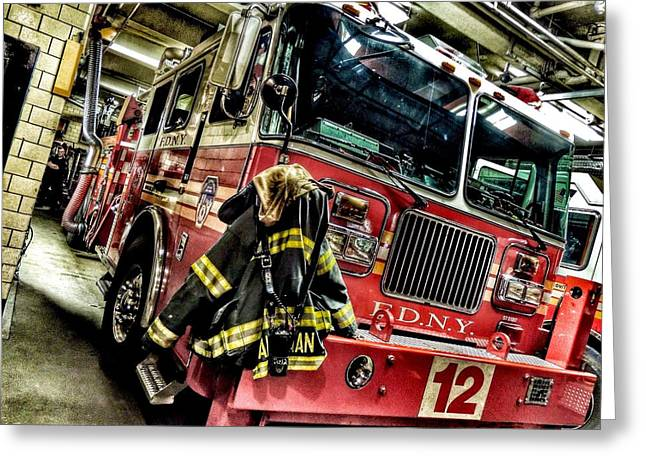 United We Stand Greeting Cards - FDNY Wheels Greeting Card by Jessica Stiles
