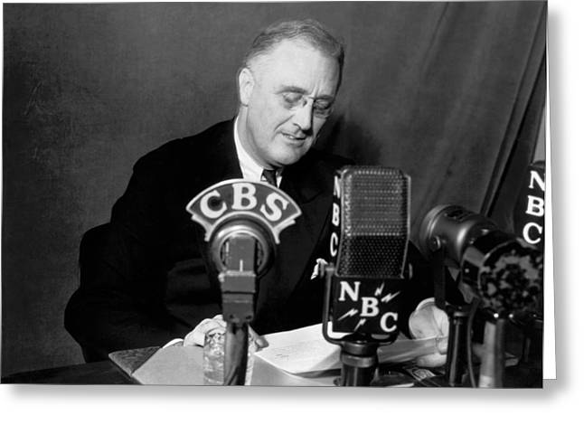 Fdr Addresses Labor Strikes Greeting Card by Underwood Archives