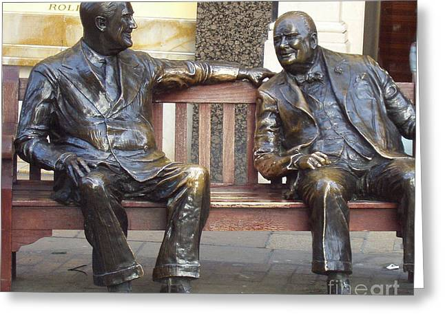 Fdr And Churchill Having A Chat In London Greeting Card by John Telfer