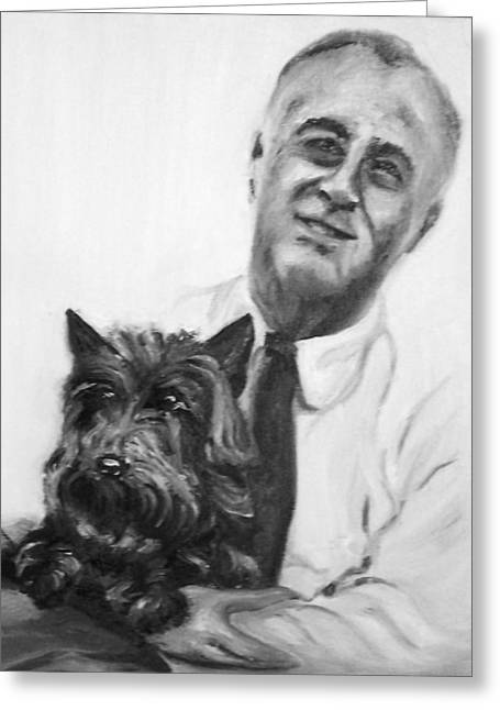 Franklin Roosevelt Paintings Greeting Cards - FDR and Fala  Greeting Card by Martha Suhocke