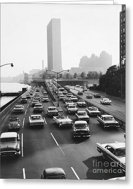 East River Drive Greeting Cards - Fdr Drive, Nyc, 1961 Greeting Card by Dick Hanley