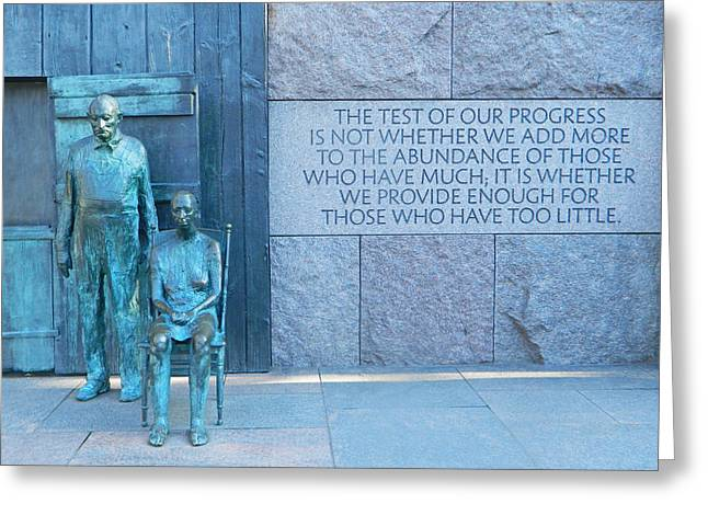 Fdr Memorial - Hunger Sculpture Greeting Card by Emmy Marie Vickers