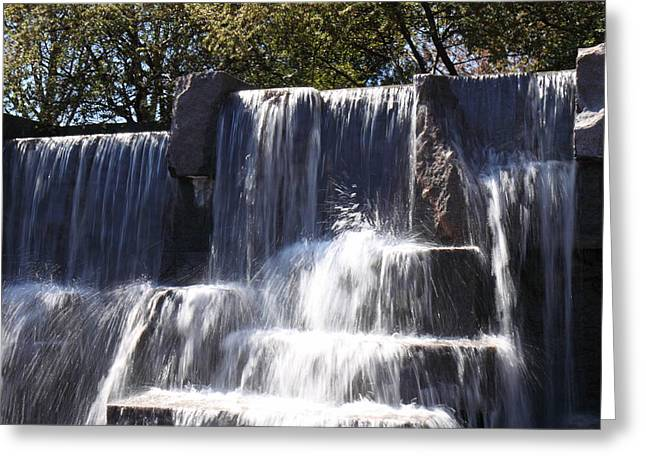 Benches Greeting Cards - FDR Memorial - Washington DC - 01131 Greeting Card by DC Photographer