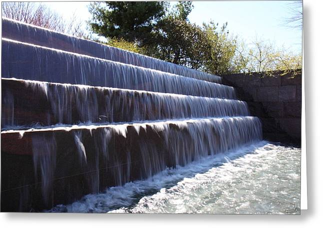 Waterfall Greeting Cards - FDR Memorial - Washington DC - 01133 Greeting Card by DC Photographer