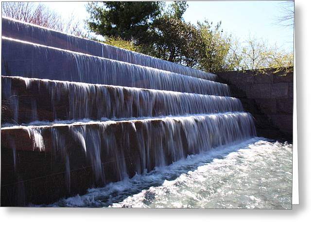 Waterfall Greeting Cards - FDR Memorial - Washington DC - 01134 Greeting Card by DC Photographer