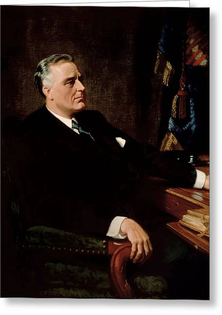 Depression Greeting Cards - FDR Official Portrait  Greeting Card by War Is Hell Store