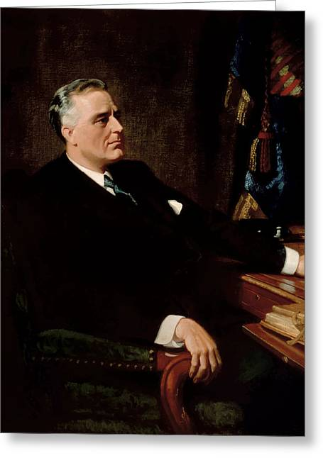 Franklin Roosevelt Greeting Cards - FDR Official Portrait  Greeting Card by War Is Hell Store