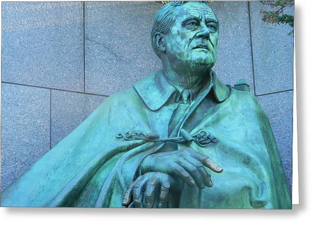 Franklin Roosevelt Digital Art Greeting Cards - FDR Portrait Greeting Card by Emmy Marie Vickers