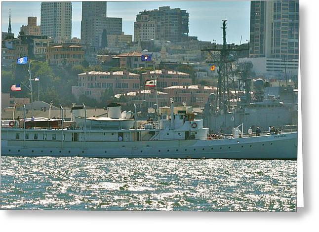 San Francisco Pyrography Greeting Cards - FDRs Old Yacht-USS Potomac Greeting Card by DUG Harpster