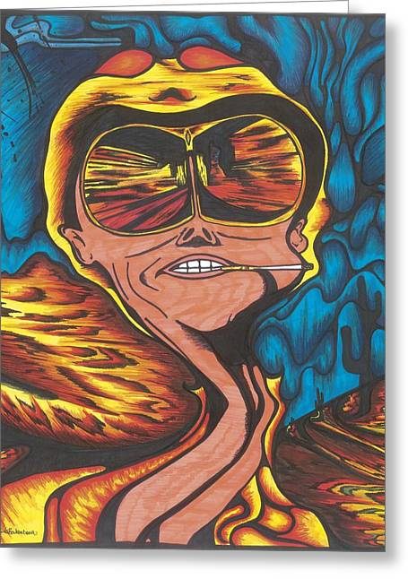 Las Vegas Drawings Greeting Cards - Fear and Loathing  Greeting Card by Katrina Berkenbosch