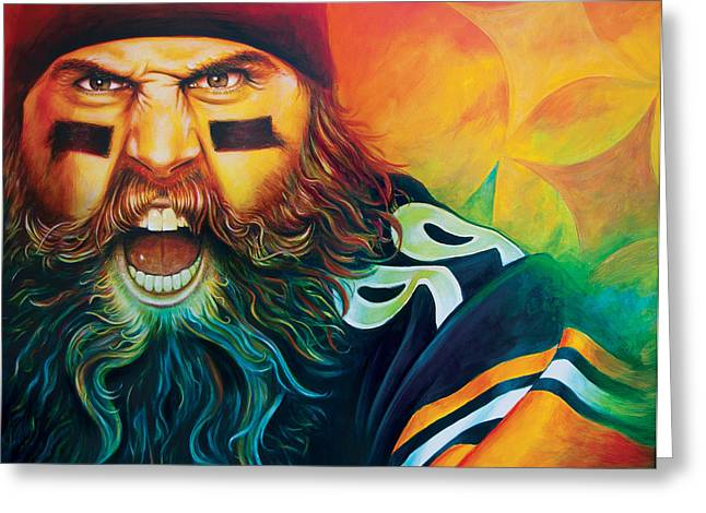 Pittsburgh Steelers Greeting Cards - Fear Da Beard Greeting Card by Scott Spillman