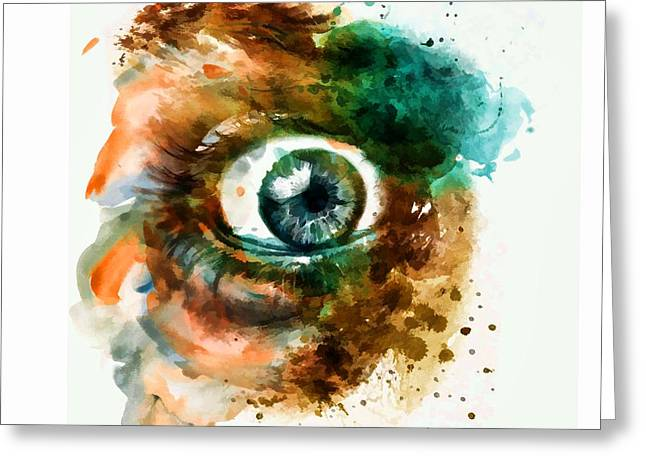 Eyelash Greeting Cards - Fear Eye watercolor Greeting Card by Marian Voicu