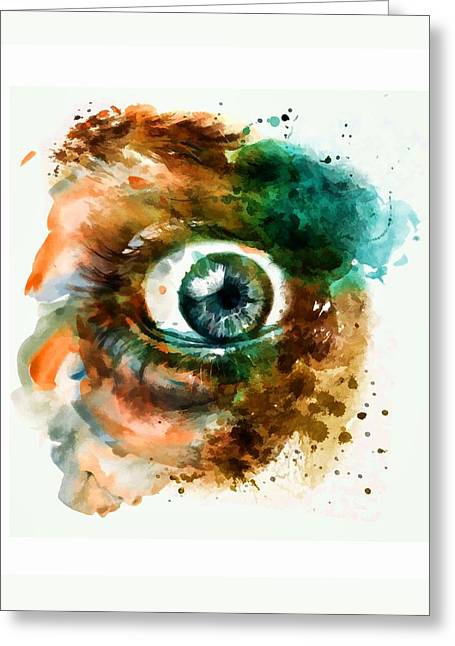 Fear Greeting Cards - Fear Eye watercolor Greeting Card by Marian Voicu