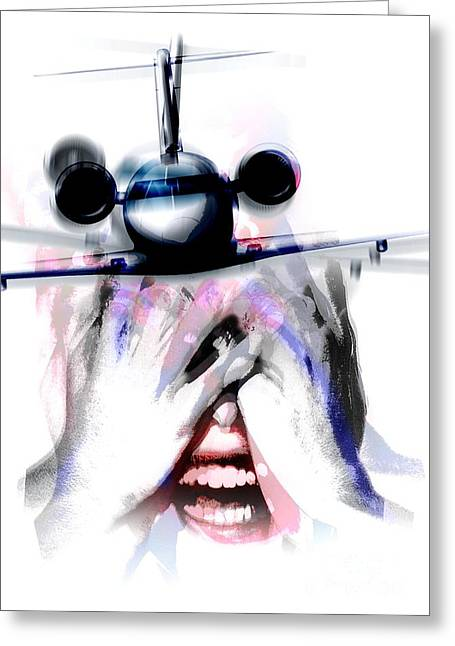 Psychiatric Greeting Cards - Fear Of Flying, Conceptual Artwork Greeting Card by Hans-ulrich Osterwalder