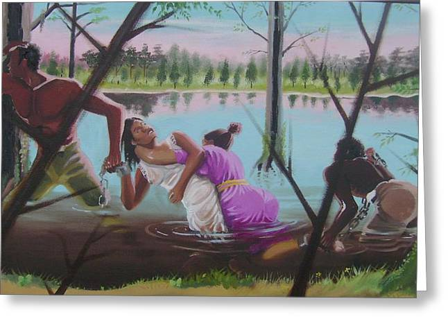 Slavery Paintings Greeting Cards - Feared Journey Greeting Card by Chuck Collins