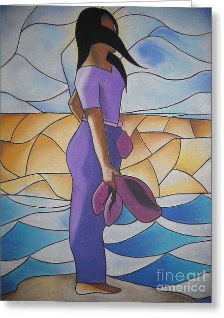 African-american Pastels Greeting Cards - Fearfree II Greeting Card by Sonya Walker