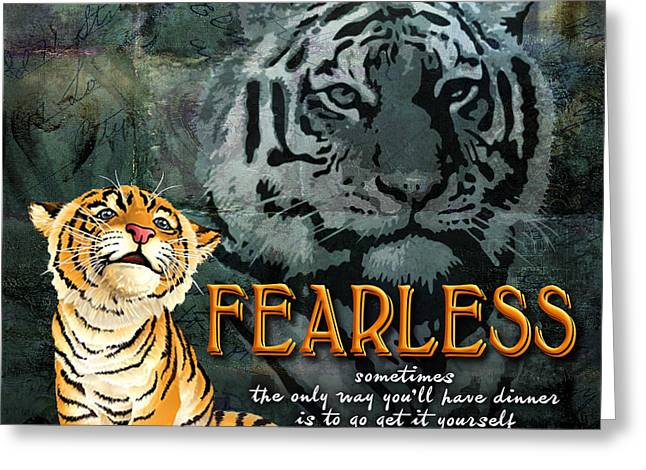 Tigers Digital Greeting Cards - Fearless Greeting Card by Evie Cook
