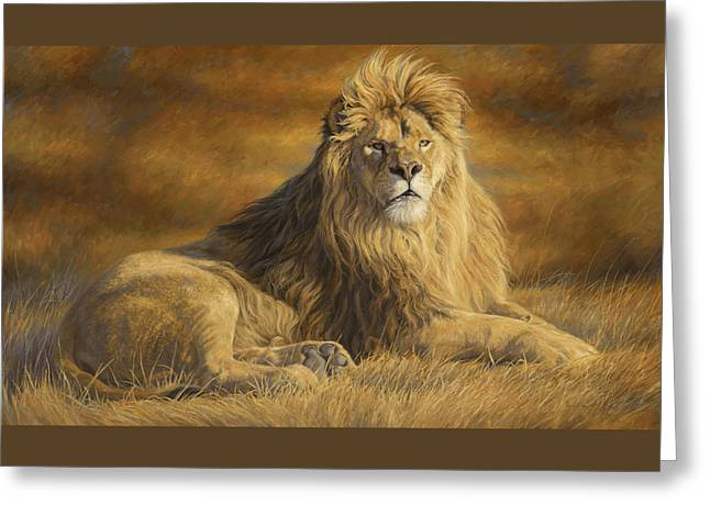 Male Lion Greeting Cards - Fearless Greeting Card by Lucie Bilodeau