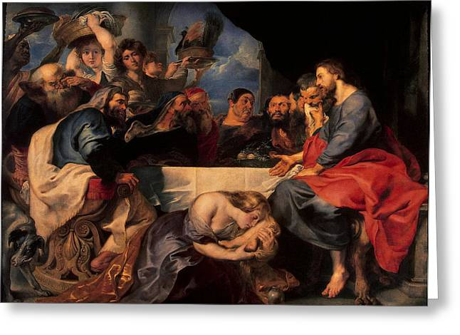 Ointment Greeting Cards - Feast In The House Of Simon The Pharisee, C.1620 Oil On Canvas Greeting Card by Peter Paul Rubens