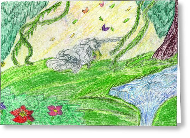 Extinct And Mythical Drawings Greeting Cards - Feast of Flowers Greeting Card by Kd Neeley